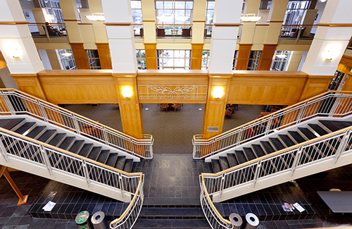 Center staircase within the UO School of Law building
